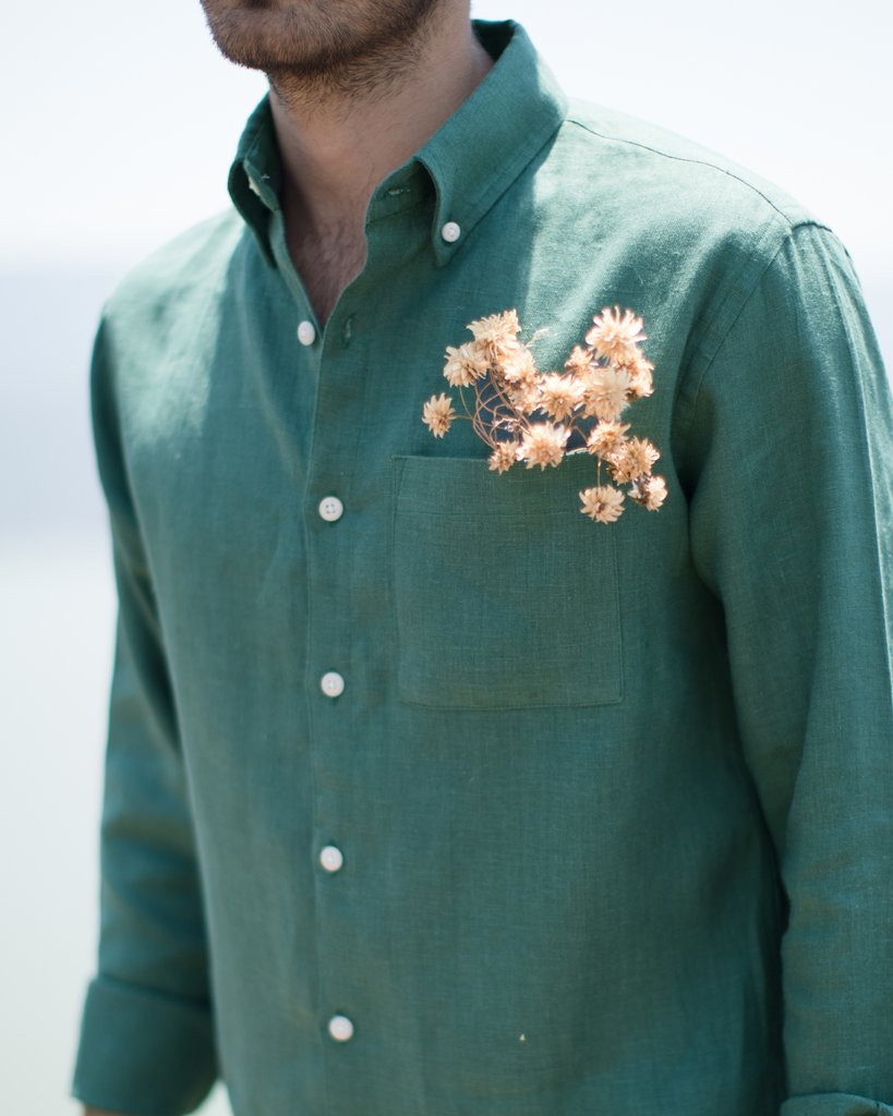Alex Crane Playa Button Up in Pine