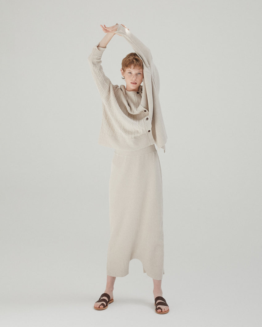 Ribbed Knit Pant in Taupe
