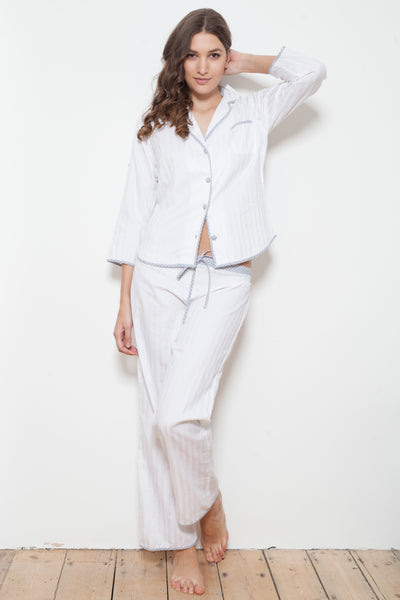 Cottonreal Tramline Shadow Stripe Cotton Pyjama Set