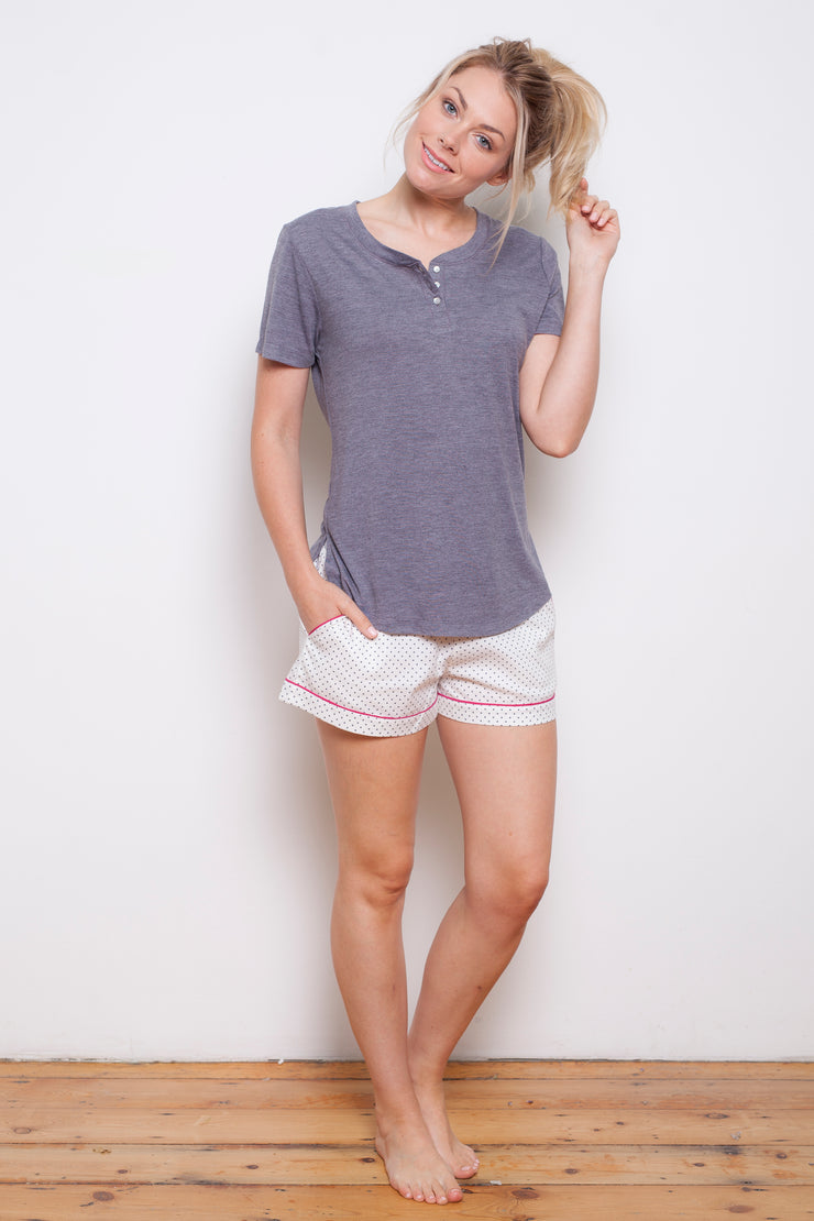 Cyberjammies Louisa Grey Short Sleeve Knit Top
