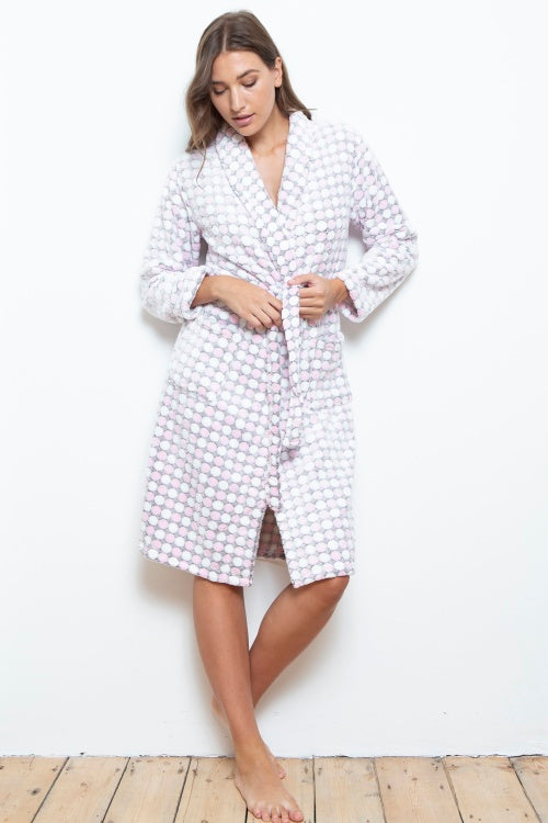 Cottonreal Fleece Polka Dot Robe