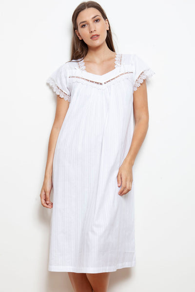 Cottonreal Mabel Cotton Lawn Cap Sleeve Nightdress