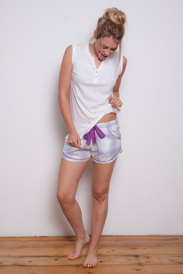 Cyberjammies Elsie Blue / Purple Check Shorts