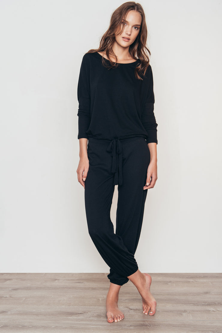 Eberjey Heather Slouchy Tee Pyjama Set - Black