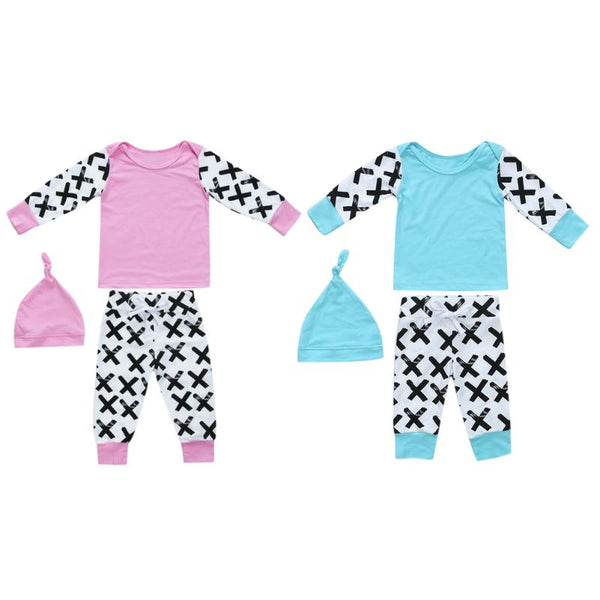 Newborn Long Sleeve Top T-shirt + Pants + Hat Outfits