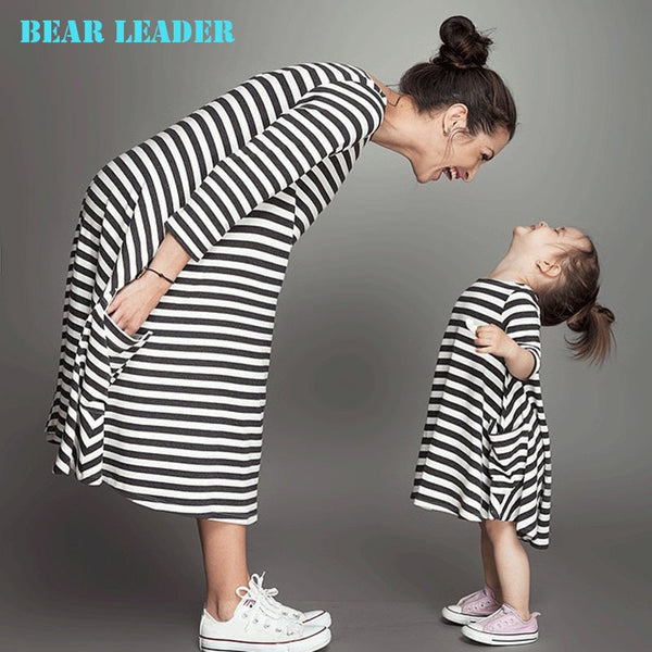 Mother And Daughter Fall Full Black Striped Dress