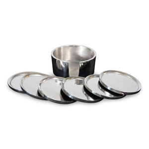 Modern Round Aluminum Coasters Set of 6 With Holder | Metal Coaster (DH9000)