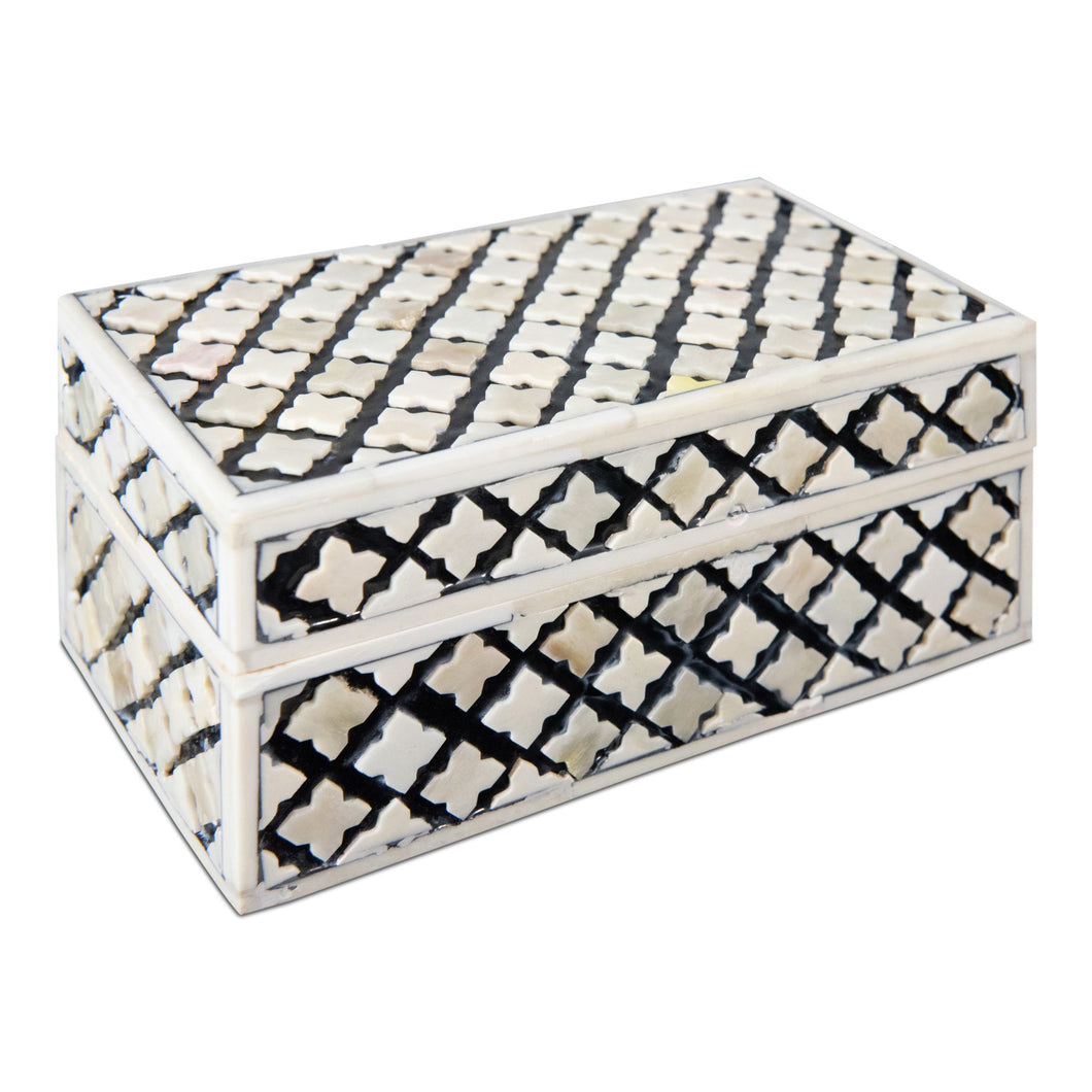 Antique Trellis Inlay Decorative Bone Box | Decorative Storage Box (DH4034)