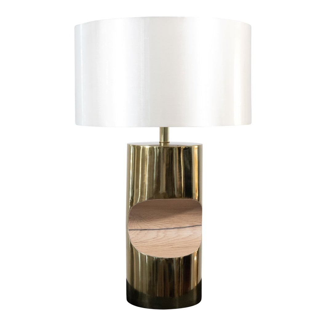 Modern Stainless Steel and Wooden Table Lamp | Side Table Lamp (DH12000)