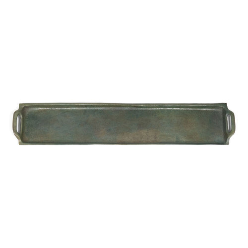 Antique Raw Aluminum Rectangular Serving Tray with Handles (DH6005)