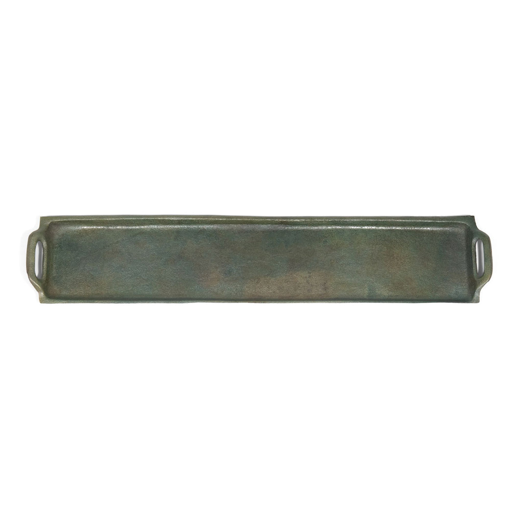 Antique Raw Aluminum Rectangular Serving Tray with Handles (DH6006)