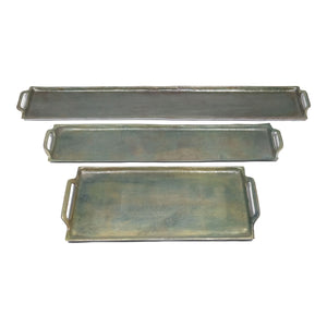 Antique Large Raw Aluminum Rectangular Tray with Handles (DH6004)