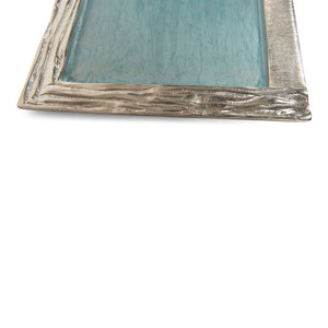 Decorative Large Aluminum Serving Tray Blue for Coffee Table (DH6000)