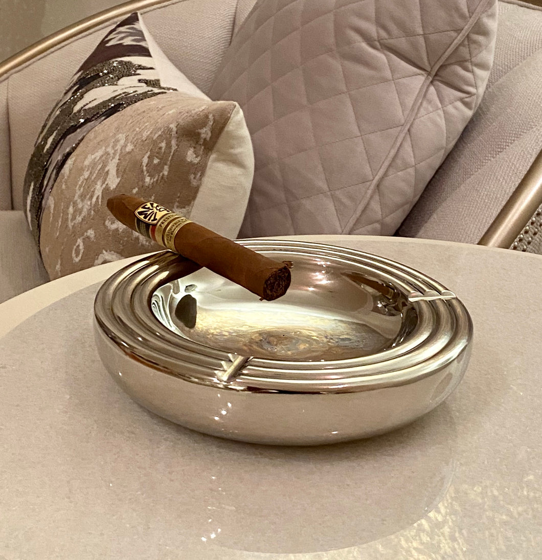 Modern Silver Round Aluminum Ashtray | Metal Ashtray (DH10007)