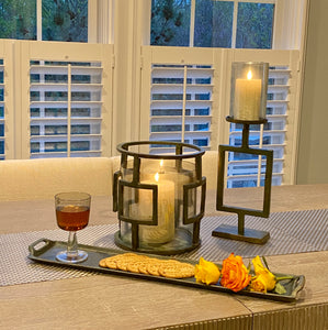 Decorative Raw Aluminum Pillar Candle Holder With Glass | Candle Holders (DH3039)