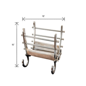 Aluminum and Steel With Hair Leather Magazine Holder | Magazine Rack (DH8026)