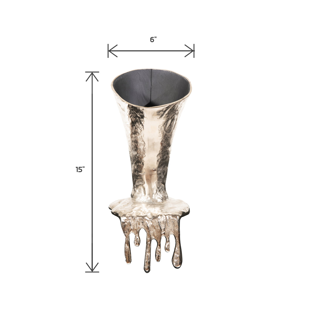 Decorative Aluminum Molten Flower Vase | Antique Vases (DH4012)