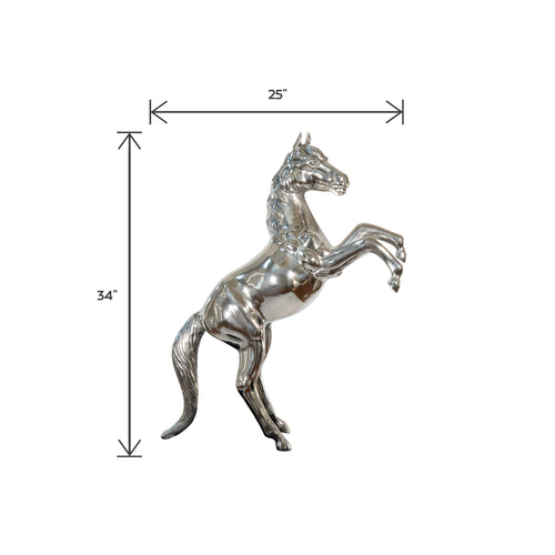 Aluminum Rearing Horse Art Figurine Decorative Sculpture | Home Decor Accent (DH4031)