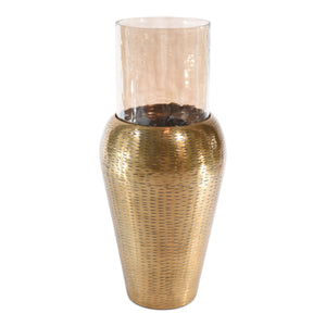Modern Gold Aluminum Tapper and Glass Flower Vases for Home Decoration (DH3043)