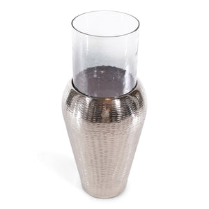 Decorative Centerpiece Silver Aluminum Tapper and Glass Flower Vase (DH3042)