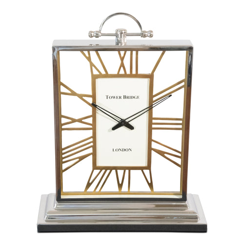 Decorative Square Rustic Aluminum and Steel Clock | Vintage desk Clock (DH10001)
