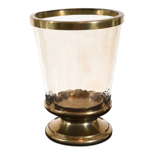Aluminum Ring Hurricane Candle Holder Gold with Pillar Glass (DH3045)