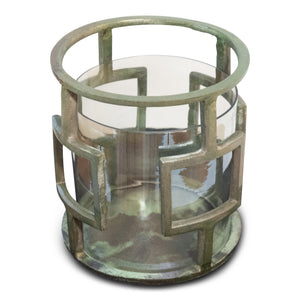 Vintage Raw Aluminum and Glass Hurricane | Candle Holder (DH3040)