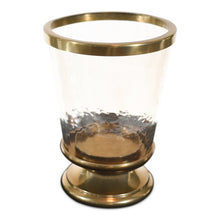 Load image into Gallery viewer, Aluminum Ring Hurricane Candle Holder Gold with Pillar Glass (DH3045)