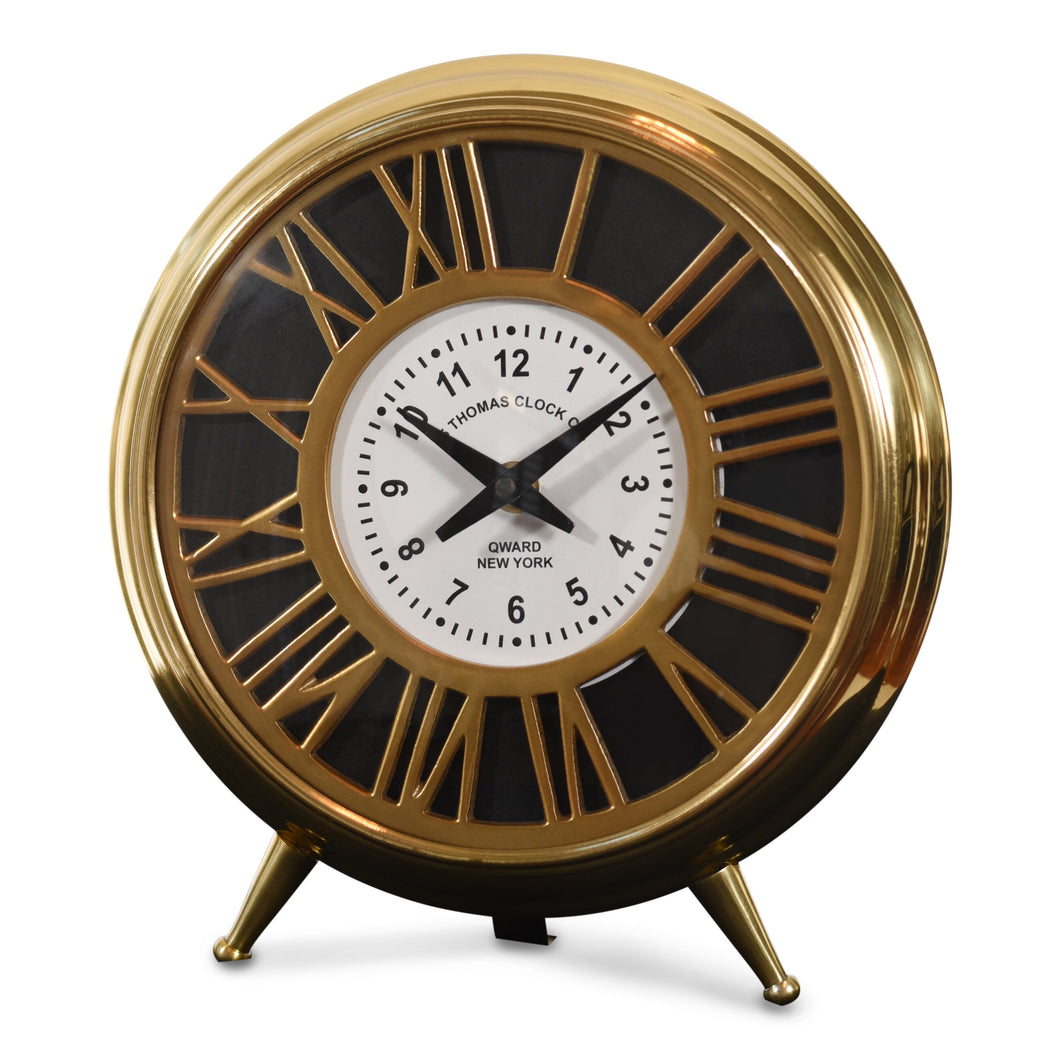 Vintage Brass and Steel Table Clock For Living Room Decor (DH10009)