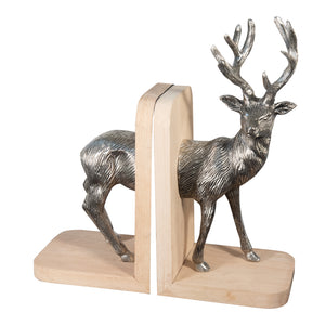 Aluminum and Wooden Reindeer Bookends For Shelves | Metal Bookends (DH10008)