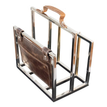 Load image into Gallery viewer, Classic Stainless Steel and Leather File Holder | Magazine Rack (DH8027)