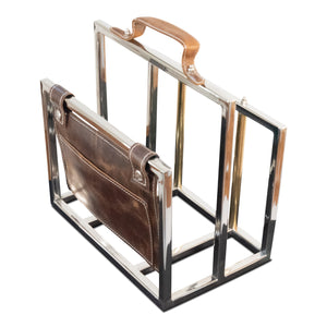 Classic Stainless Steel and Leather File Holder | Magazine Rack (DH8027)