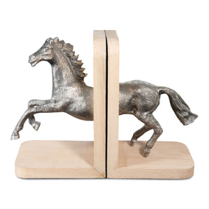 Decorative Aluminum and Wooden Running Horse Bookends (DH4038)