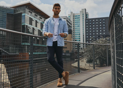 William Wade wearing Yogi Footwear in Manchester