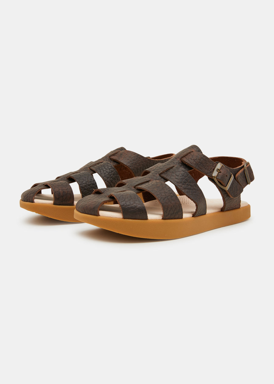 Elba Tumbled Leather Sandal - Dark Brown