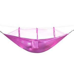 Single Perosn Nylon Fabric Netting Hammock with Mosquito Net - QOG.FD