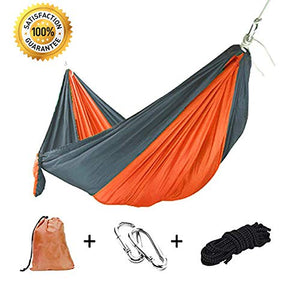 BOBOLINE Hammock Camping Single Tree Straps & Carabiners | Easy Assembly |Lightweight Portable Parachute Nylon Hammock for Camping, Backpacking, Survival, Travel, Beach, Indoor, Outdoor,Gray/Orange