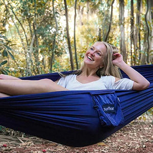 Nylon Camping Hammock with Tree Straps and Carabiner Clips - Sunyear