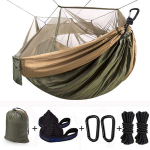 Double & Single Camping Hammock with Mosquito Net & Tree Straps