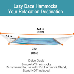 Sunbrella Fabric Double Hammock with Spread Bar and Polyester Rope - Lazy Daze Hammocks