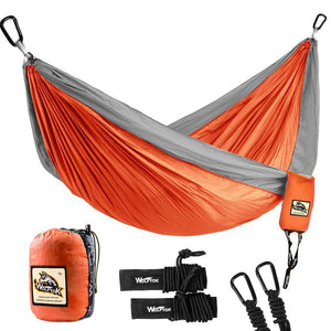 Nylon Hammock with Parachute Nylon Ropes and Solid Carabiners - Wolfyok