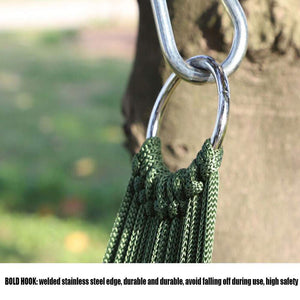 Mesh Pocket Cotton Rope Travel Hammock - AWZSDF