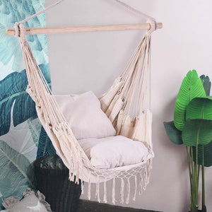 Cotton Fabric Hammock Chair Macrame Swing 2 Seat Cushions - Lavany