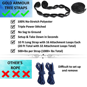 Double Parachute Camping Hammock - Gold Armour