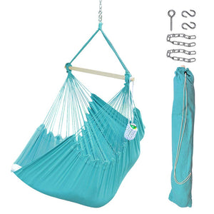XXL Hanging Rope Hammock Chair Swing Seat with Drink Holder - Lazy Daze Hammocks