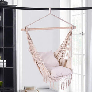 Hanging Chair with Weave Cotton Rope & 2 Seat Cushions - Quaanti