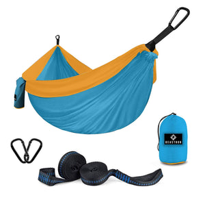 Parachute Nylon Double Camping Hammock with Tree Straps - Beastron