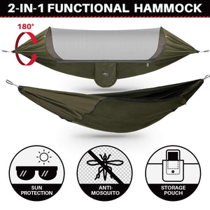 Large Camping Hammock with Mosquito Net & Tree Straps - ETROL