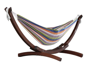 "102"" Orange & Purple Striped Brazilian Hammock with Stand - The Hamptons Collection"