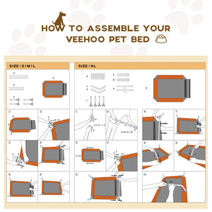 Pet Cot with Washable & Breathable Hammock - Veehoo
